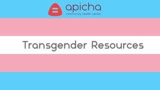 Transgender Resources:  Apicha Community Health Center